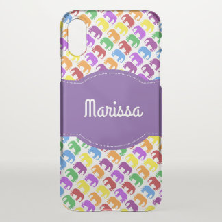 Colorful Elephant Pattern with Personalized Name iPhone X Case