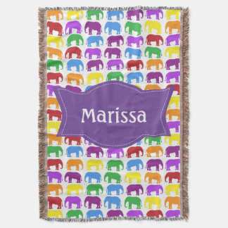Colorful Elephant Pattern with Personalized Name Throw Blanket
