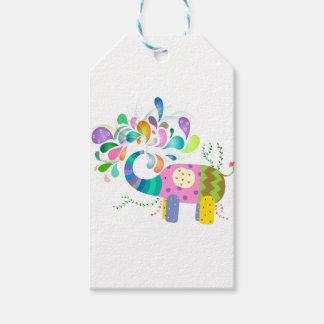 Colorful Elephant Splashing Gift Tags