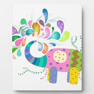Colorful Elephant Splashing Plaque