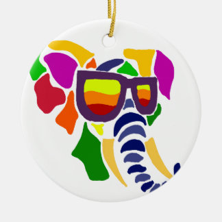 Colorful Elephant Wearing Sunglasses Abstract Christmas Ornament