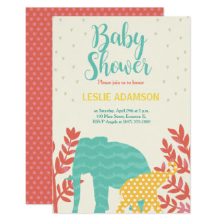 colorful elephants baby shower invitation