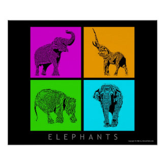 Colorful Elephants Poster