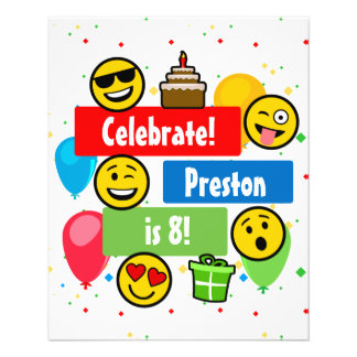 Colorful Emoji Birthday Party Kids or Boys Custom Flyer