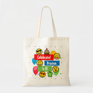 Colorful Emoji Birthday Party Kids or Boys Custom Tote Bag
