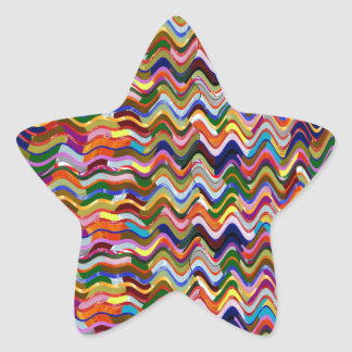 Colorful Energy Wave Pattern Abstract Art Star Sticker