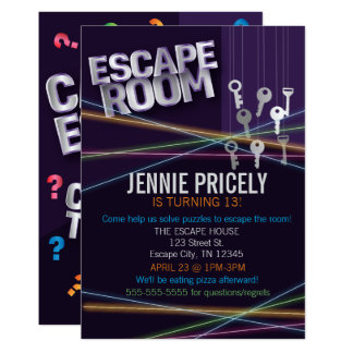 Colorful Escape Room Invitation