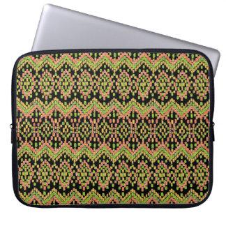 Colorful Ethnic Ikat Pattern on Black Laptop Sleeve