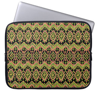 Colorful Ethnic Ikat Pattern on Black Laptop Sleeves
