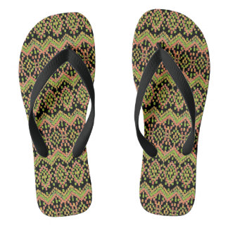 Colorful Ethnic Ikat Pattern on Black to Customize Flip Flops