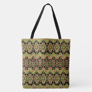 Colorful Ethnic Ikat Pattern on Black Tote Bag
