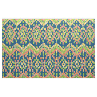 Colorful Ethnic Ikat Pattern on Blue Fabric
