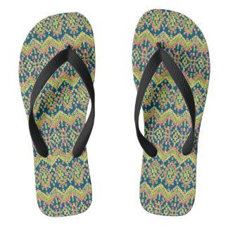 Colorful Ethnic Ikat Pattern on Blue Flip Flops