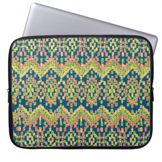 Colorful Ethnic Ikat Pattern on Blue Laptop Sleeve