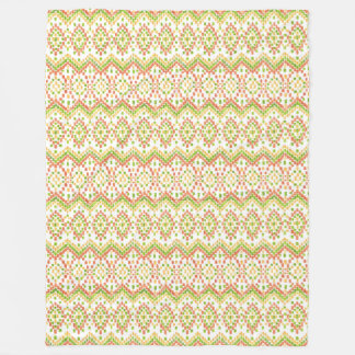 Colorful Ethnic Ikat Pattern on White to Customize Fleece Blanket