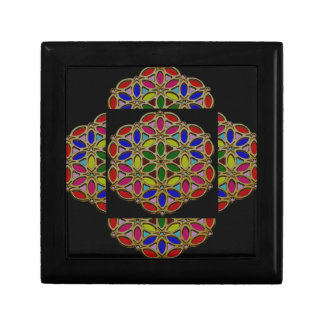 Colorful Ethnic Necklace Pendent jewel art on gift Small Square Gift Box