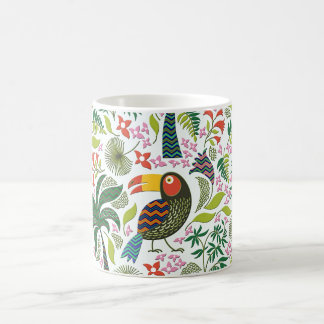 Colorful Exotic Birds And Flowers Pattern Coffee Mug