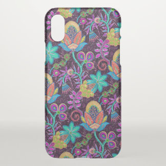Colorful Exotic Flowers Glass-beads Look iPhone X Case