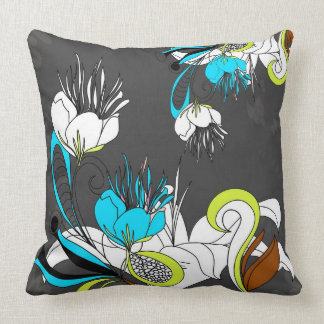Colorful Exotic Flowers Gray Background Throw Pillows