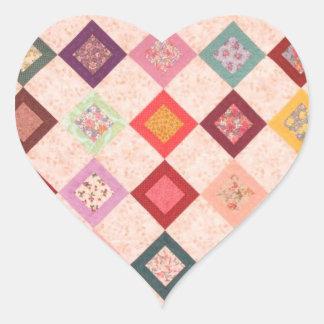 Colorful Fabrics Pattern Heart Sticker