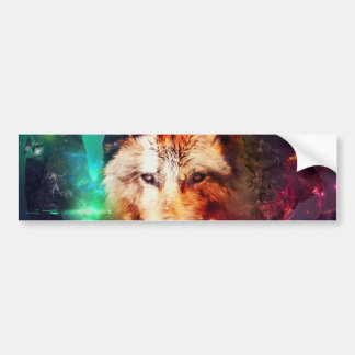 Colorful face wolf bumper sticker