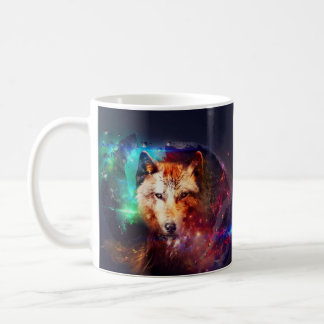 Colorful face wolf coffee mug
