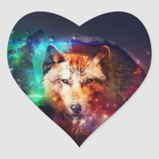 Colorful face wolf heart sticker