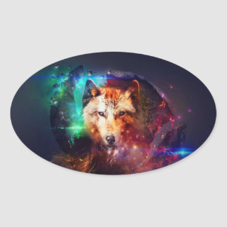 Colorfulface wolf oval sticker