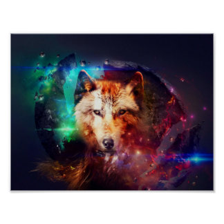 Colorful face wolf poster