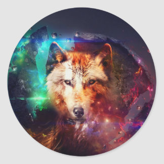 Colorful face wolf round sticker