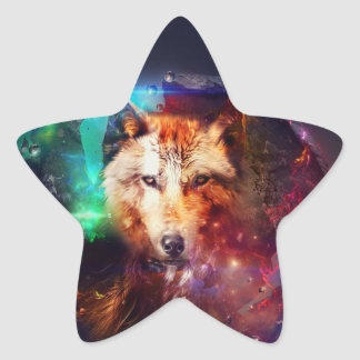Colorfulface wolf star sticker
