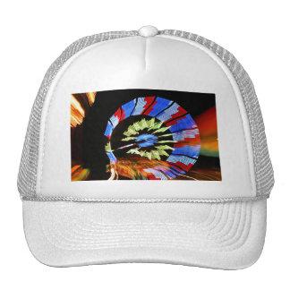 Colorful fair ride design, neon colors on black #1 trucker hat