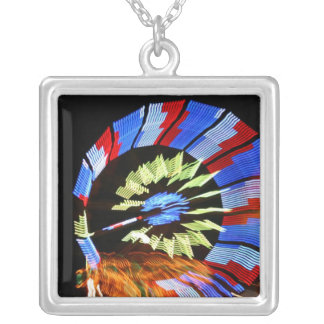 Colorful fair ride design, neon colors on black #1 square pendant necklace
