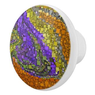 Colorful Fall Bouquet Geometric Design Ceramic Knob