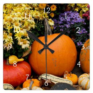 Colorful fall decorative pumpkin display square wall clock