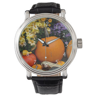 Colorful fall decorative pumpkin display watch