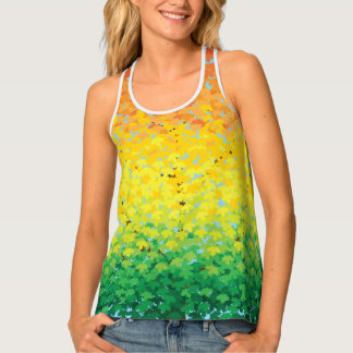 Colorful Fall Foliage Maple Leaves Ombré Pattern Tank Top