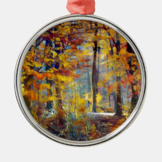 Colorful fall forest christmas ornament
