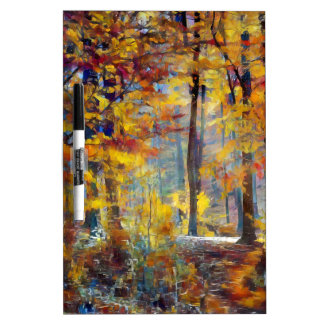 Colorful fall forest dry erase board