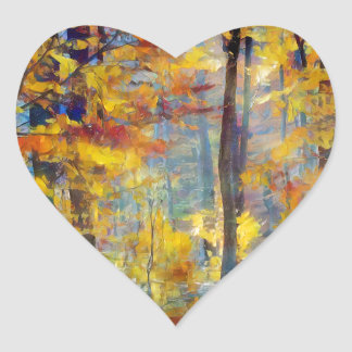 Colorful fall forest heart sticker