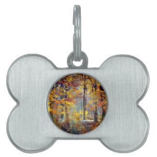 Colorful fall forest pet tag