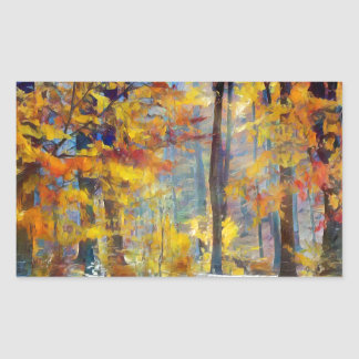 Colorful fall forest rectangular sticker