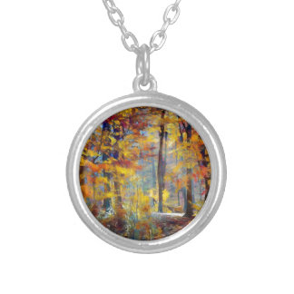 Colorful fall forest silver plated necklace