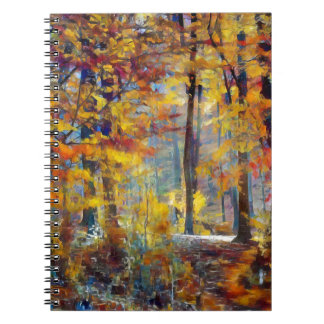 Colorful fall forest spiral notebook
