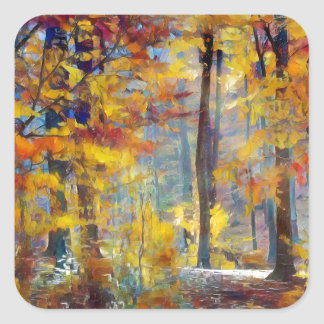 Colorful fall forest square sticker