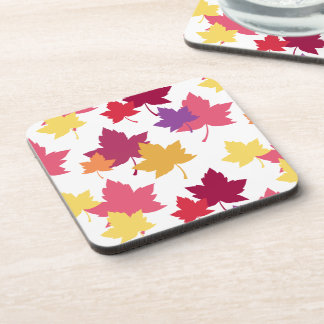 Colorful Fall Leaves Autumnal Pattern Coaster