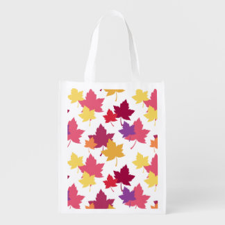 Colorful Fall Leaves Autumnal Pattern Reusable Grocery Bag