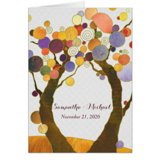Colorful Fall Love Trees Folded Wedding Invitation Greeting Card
