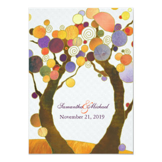 Colorful Fall Love Trees Modern Wedding 13 Cm X 18 Cm Invitation Card