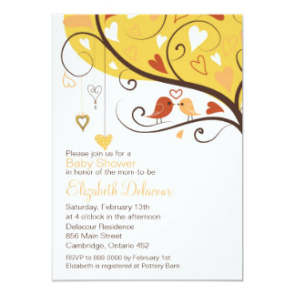 Colorful Fall Lovebirds Baby Shower Invitation